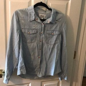 button down chambray distressed women's pocket top